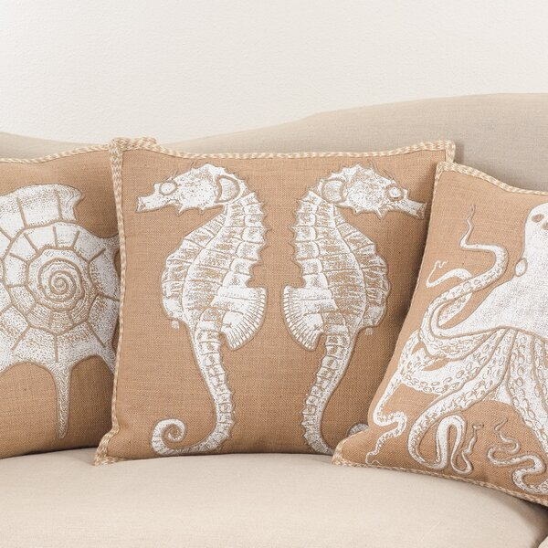 Aloisia I See Seahorses Down Filled Throw Pillow by Highland Dunes
