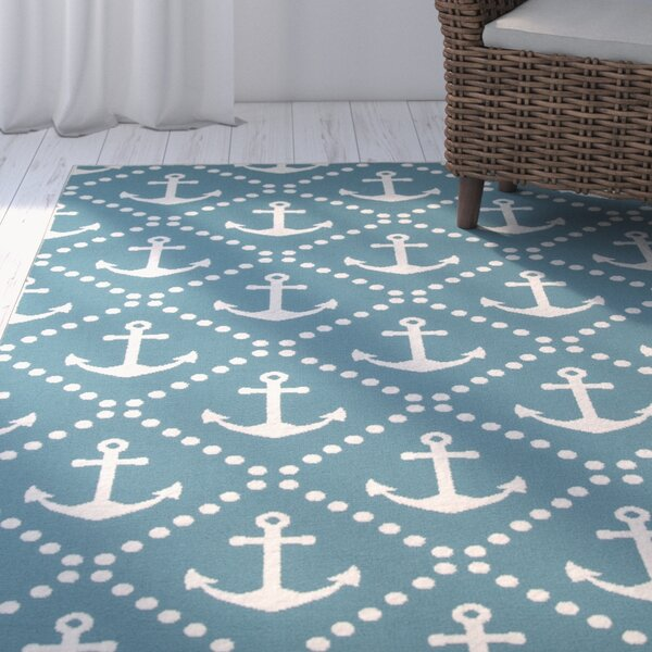 Halliday Blue/Ivory Indoor/Outdoor Area Rug by Beachcrest Home