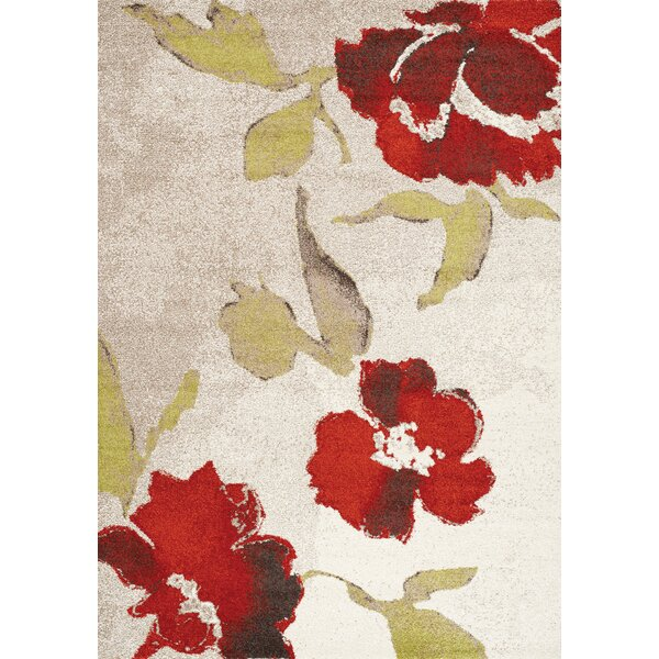 Lyonsdale Floating Flowers Cream/Red Area Rug by Red Barrel Studio