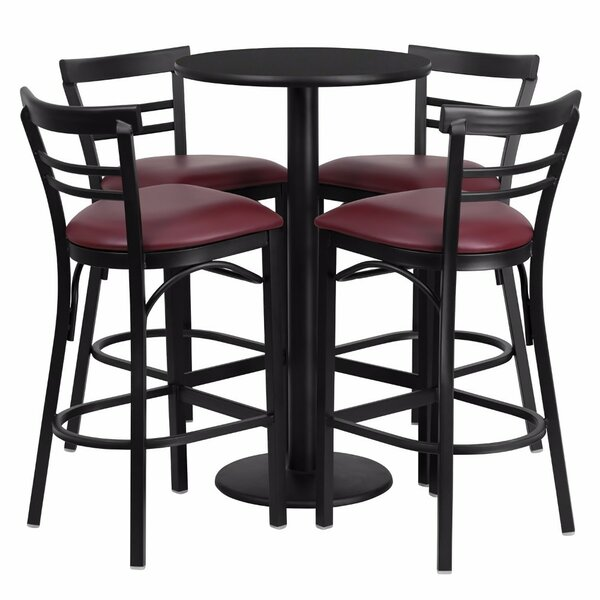 Alvarez Round Laminate 5 Piece Upholstered Pub Table Set by Red Barrel Studio