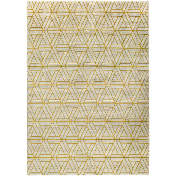 Ginsberg Light Gray/Gold Area Rug by Langley Street