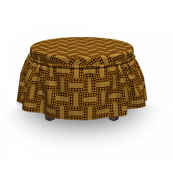 National Triangles Ottoman Slipcover (Set Of 2) By East Urban Home