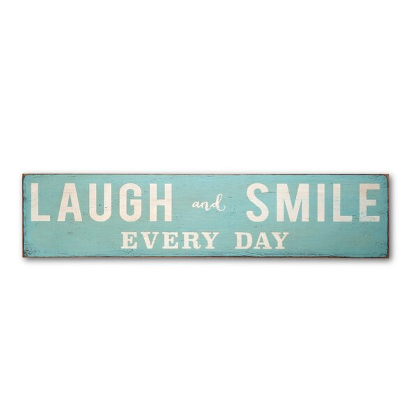 Laugh and Smile Every Day Landscape Textual Art Plaque by Barn Owl Primitives