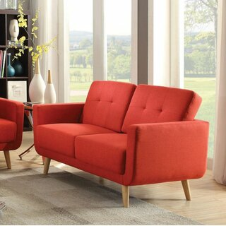 Loveseat, Red Linen by Latitude Run SKU:AC576855 Guide