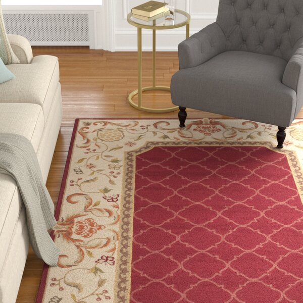 Arends Hand-Hooked Burgundy/Ivory Area Rug by Astoria Grand