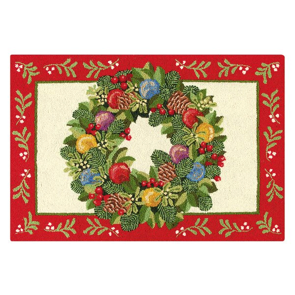 Ornament Wreath Wool Red/Green Area Rug by The Hol