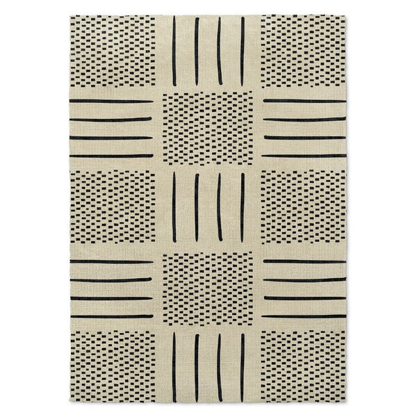 Global Ivory/Black Area Rug by Foundry Select