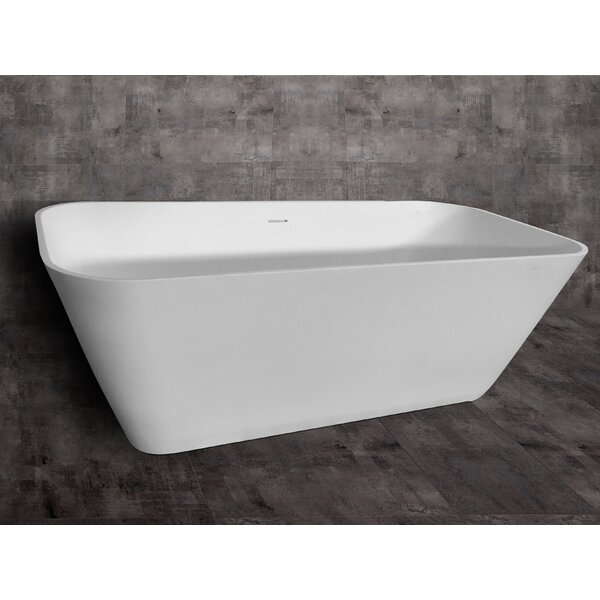 Rectangular Solid Surface Smooth Resin 67 x 31.25 Freestanding Soaking Bathtub by Alfi Brand