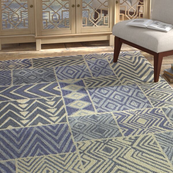 Mundell Hand-Woven Wool Light Blue Area Rug by Bloomsbury Market