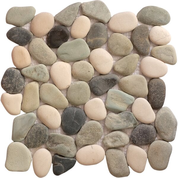 Jubilee Random Sized Natural Stone Mosaic Tile in Black/Tan by FuStone