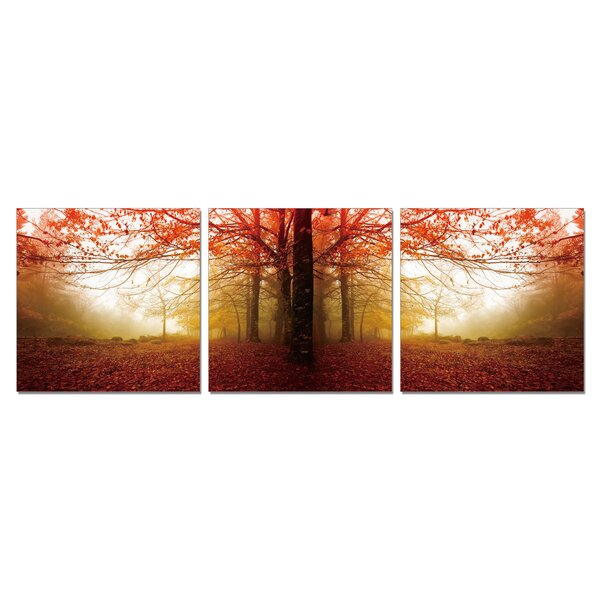 Autumn Leaves Wall Mounted Triptych 3 Piece Photographic Print Set by Ebern Designs