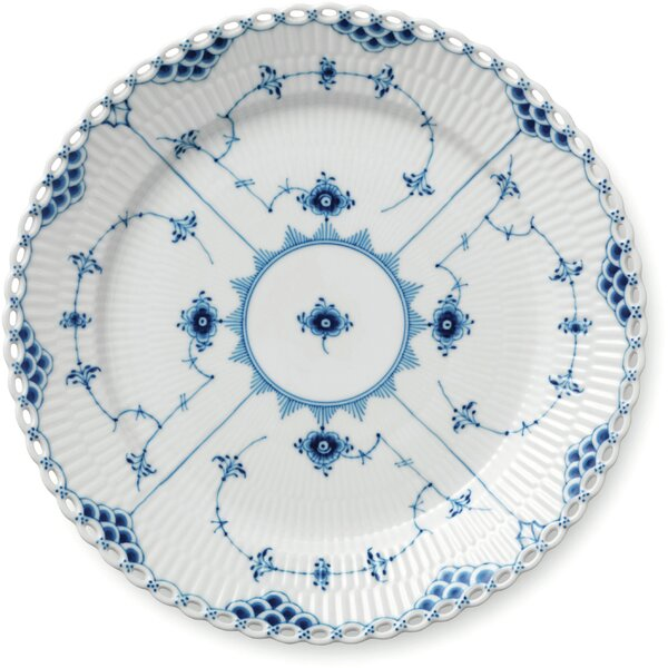 Blue Fluted Full Lace 9.75 Luncheon Plate