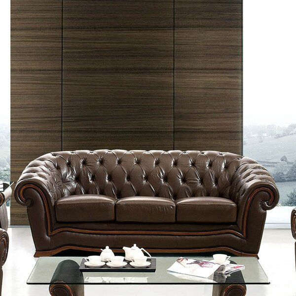 Best #1 Barkell Leather Sofa By Canora Grey Purchase