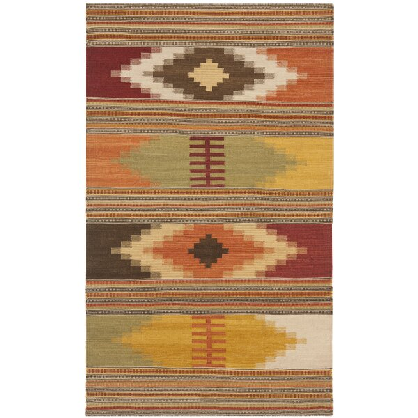 Vacaville Hand Woven Wool Red/Orange Area Rug by Loon Peak