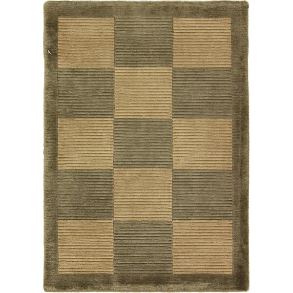 One-of-a-Kind Auburnhill Tibetan Hand-Knotted Wool Green Area Rug by Isabelline