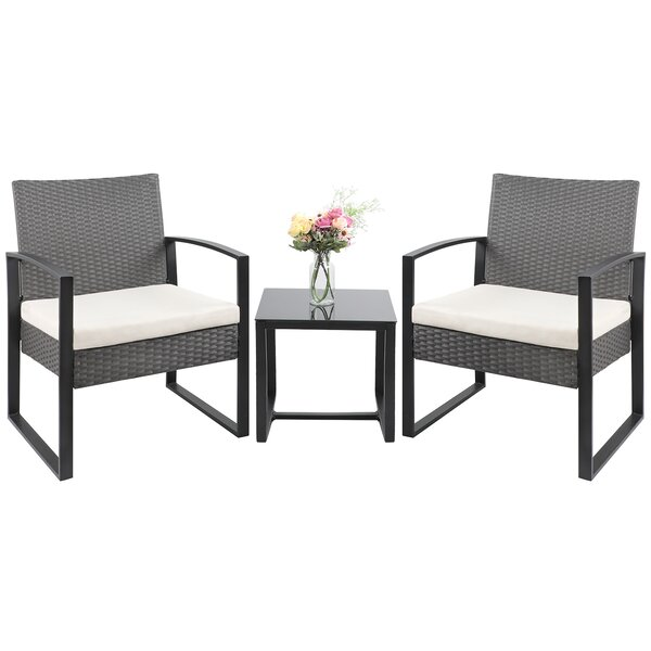 Moncure 3 Piece Rattan Seating Group with Cushions by Ebern Designs