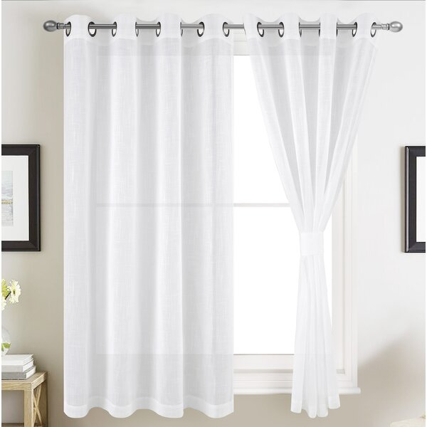 Abigayle Solid Semi Sheer Grommet Curtain Panels (Set of 2) by Charlton Home