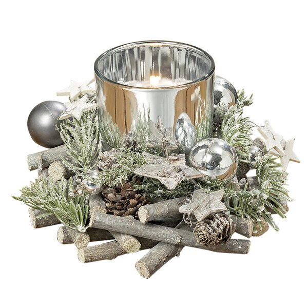 The Cape Cod Star Festive Table Top Centerpiece Wreath Votive Holder by The Holiday Aisle