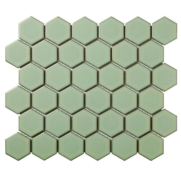 Barcelona Hexagon Retro Edge Glossy 2 x 2.32 Porcelain Mosaic Tile in Green by The Mosaic Factory