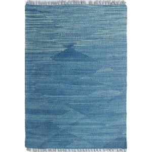 Ackworth Kilim Hand Knotted Wool Blue Area Rug