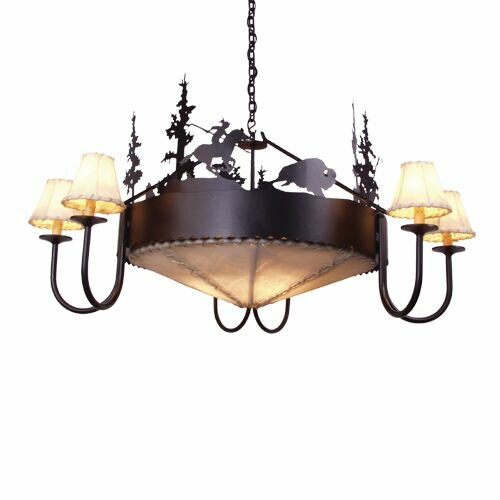Buffalo 9-Light Shaded Wagon Wheel Chandelier by Steel Partners Steel Partners