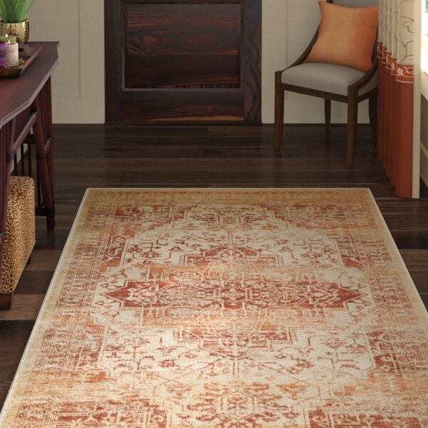 Nessadiou Rust/Creme Area Rug by World Menagerie