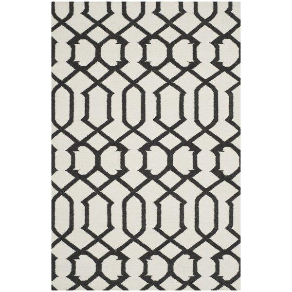 Dhurries Wool Ivory/Charcoal Area Rug by Safavieh