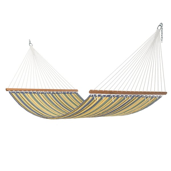 Rosamond Large Blue and Yellow Stripe Quilted Hammock by Highland Dunes