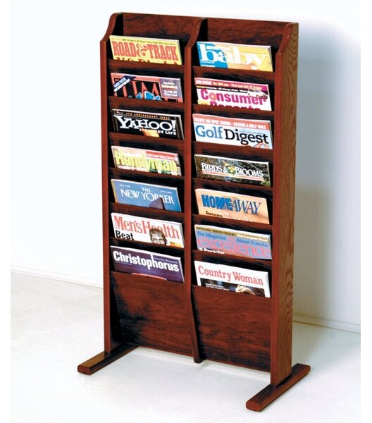 14 Pocket Free Standing Magazine Rack By Rebrilliant.