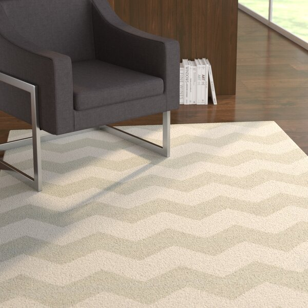 Murguia Grey & White Chevron Area Rug by Ebern Designs
