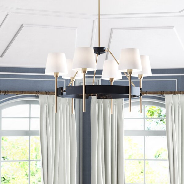 Brinsley 6 - Light Shaded Wagon Wheel Chandelier by Willa Arlo Interiors Willa Arlo Interiors