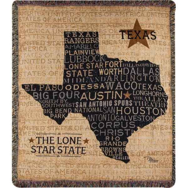 USA Texas Tapestry Cotton Throw by Manual Woodworkers & Weavers