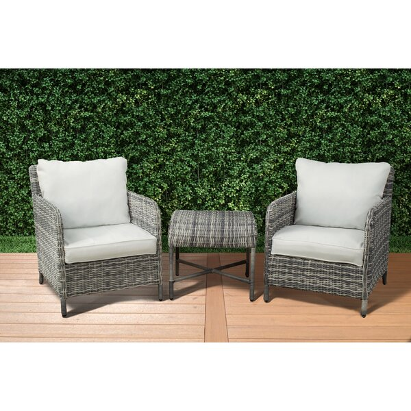 Bavis 3 Piece Rattan Conversation Set with Cushions by Gracie Oaks