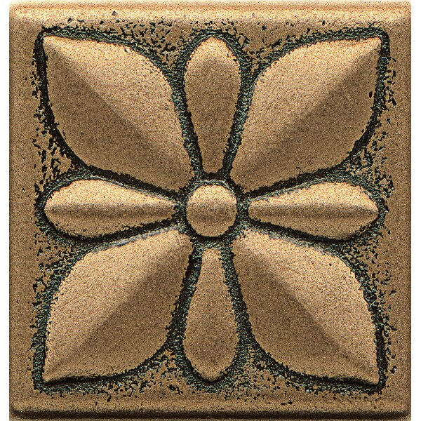 Ambiance Insert Jasmine 2 x 2 Resin Tile in Bronze by Bedrosians