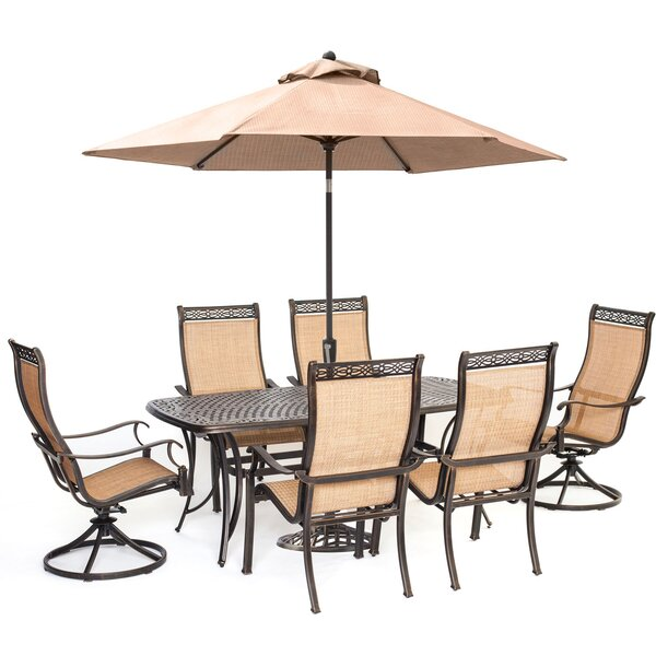 Dubbo 7 Piece Dining Set with Umbrella by Darby Home Co