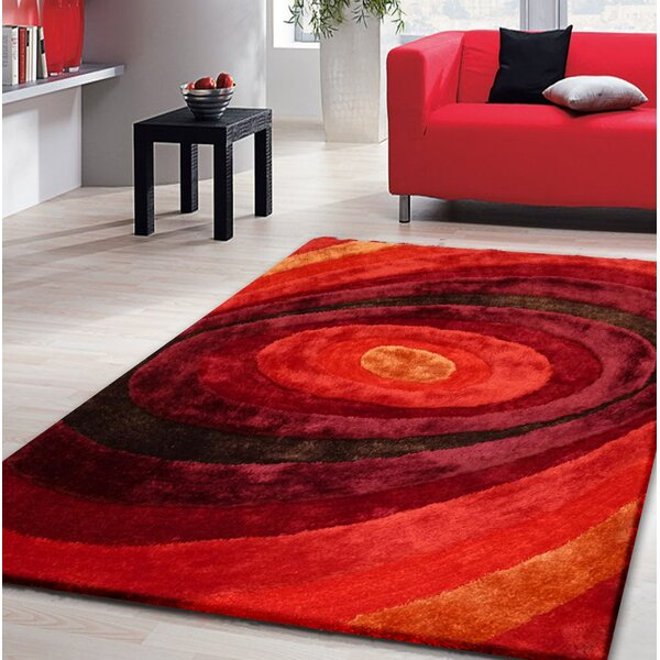 Qualls Hand-Tufted Red Area Rug by Latitude Run