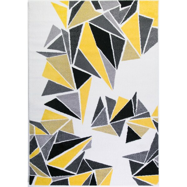 Crigler Triangles Yellow/Gray Area Rug by Ebern Designs