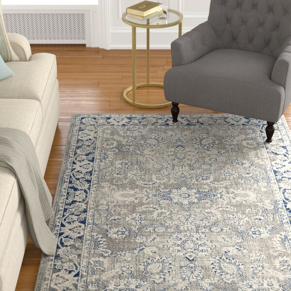 Harwood Power Loomed Cotton Gray/Blue Area Rug by Darby Home Co