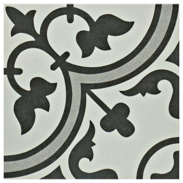 Artea 9.75 x 9.75 Porcelain Field Tile in Dark Gray/White by EliteTile
