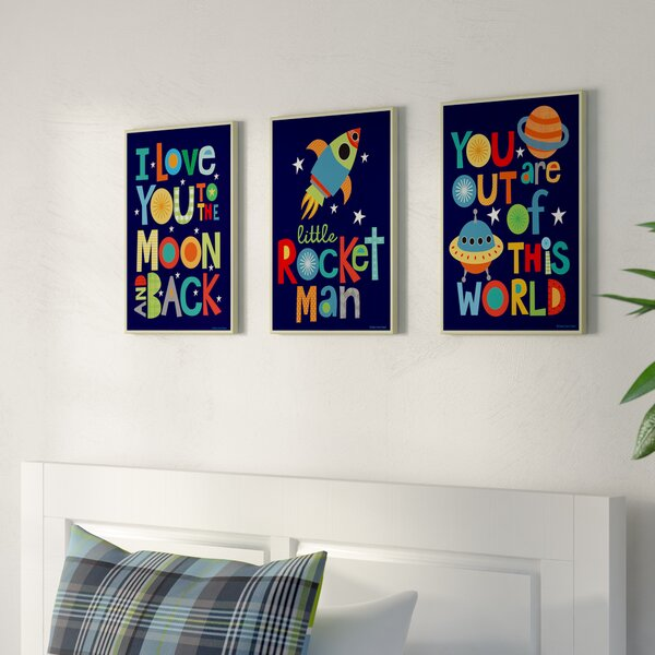 Stella I Love You to the Moon and Back 3 Piece Wall Plaque Set by Viv + Rae