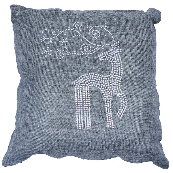 Holiday Rhinestone Reindeer and Snowflakes Throw Pillow by Sparkles Home