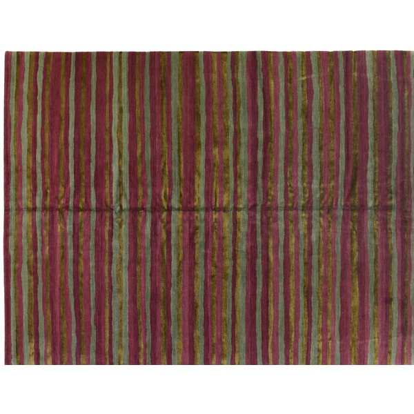 One-of-a-Kind Hand-Knotted Burgundy 9' x 12' Viscose Area Rug