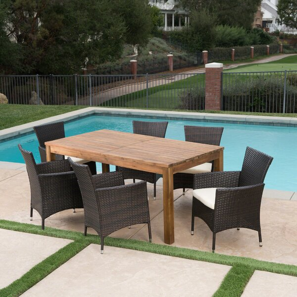 Woodhouse 7 Piece Extendable Dining Set with Cushions by Gracie Oaks