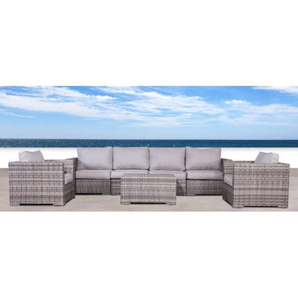 Letona Double Club 7 Piece Sectional Seating Group with Cushions by Sol 72 Outdoor