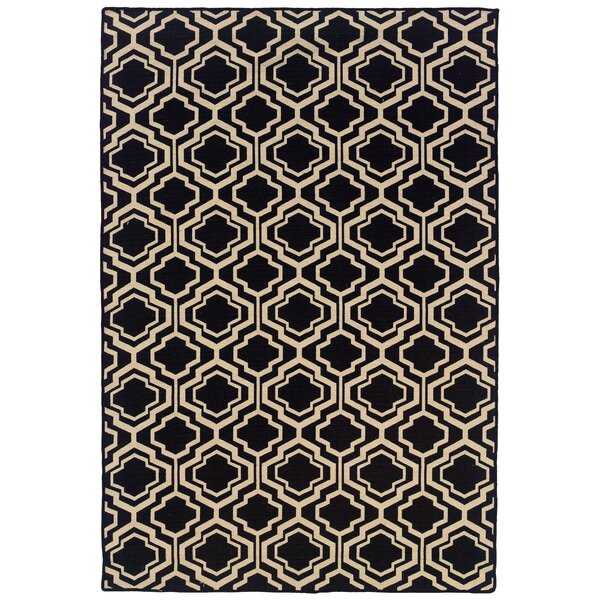 Blomquist Hand-Tufted Black/Natural Area Rug by Darby Home Co