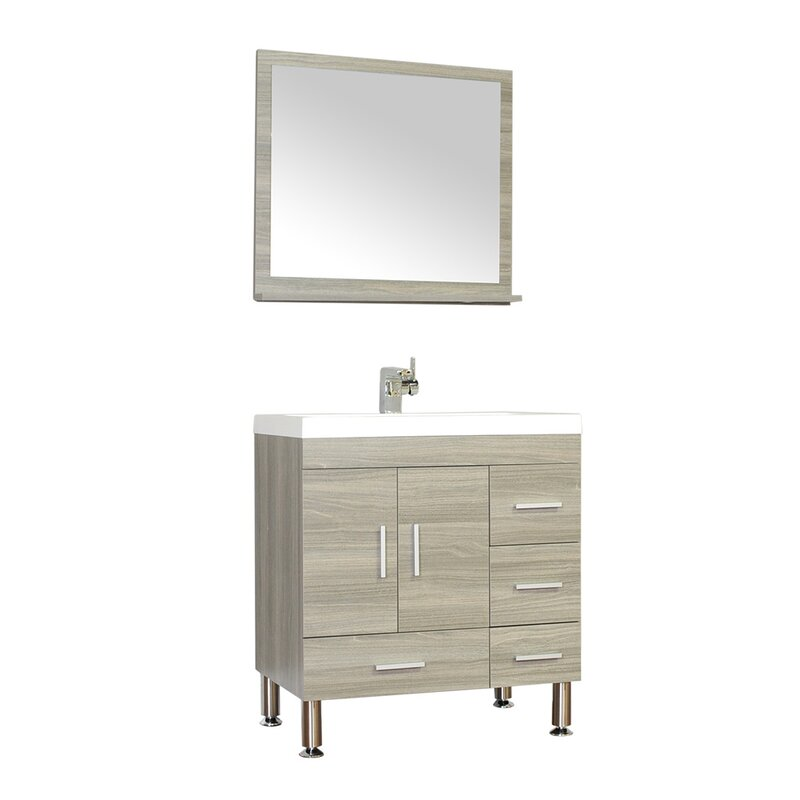 Wade logan waldwick 30 single modern bathroom vanity set with mirror reviews - Kona modern bathroom vanity set ...