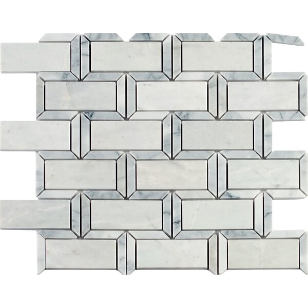 Framework Polished 2 x 4 Marble Mosaic Tile in White/Gray by MSI