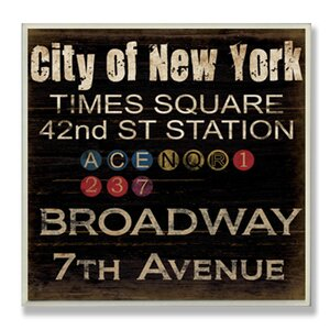 'New York Landmarks' Textual Art Wall Plaque by Trent Austin Design