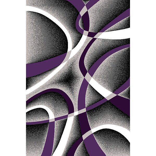 Mccampbell 3D Abstract Purple/Gray Area Rug by Ivy Bronx