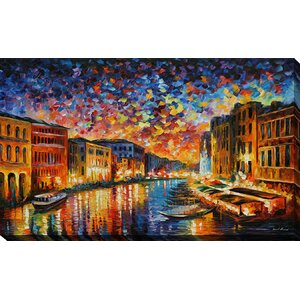 Venice Grand Canal by Leonid Afremov Painting Print on Wrapped Canvas by Picture Perfect International